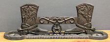 """CAST IRON -Western Cowboy Boot  Scraper with Horseshoes Large 15"""" wide"""