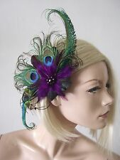 "Emerald Green Purple Peacock Feathers Quills Fascinator Hair Clip ""Moe"" Party"