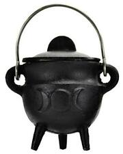 Small TRIPLE MOON Pot Belly Lidded Cauldron!  pagan wicca witch