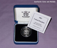 2003 ROYAL MINT SILVER PROOF £1 COIN IN CASE WITH COA - UK Royal Arms Design