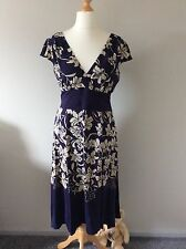 NAVY BLUE FLORAL SILK DRESS BY MONSOON SIZE 12