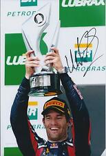Mark Webber SIGNED Autograph Red Bull 12x8 Photo AFTAL COA Celebrates Victory