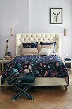 Anthropologie NELIA Queen Duvet Cover screen - printed cotton floral motif NWT