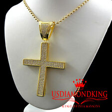 Pure Sterling Silver 14k Yellow Gold Finish Jesus Cross Pendant Charm Chain Set
