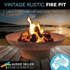 Rusted Fire Pit Outdoor Open Fireplace Patio Heater Plant Bowl Bird Bath 90cm