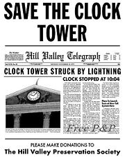 Back to the Future Save Clock Tower Flyer Print Marty McFly Doc Gift Delorean