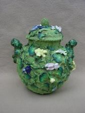 ANTIQUE VICTORIAN STAFFORDSHIRE MAJOLICA VASE JAR WITH MOSSY BODY & FLOWERS