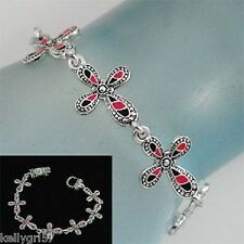 BLACK & PINK CROSS CHRISTIAN RELIGIOUS TRENDY GIFT NWT JEWELRY BRACELET #235-D