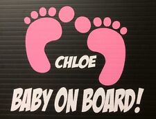 Baby On Board Footprints Girl Decal Window Sticker Personalized With Name
