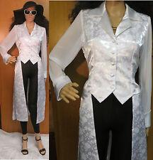Vintage 80's White Satin Long Formal Dress Party Vest Jacket Coat