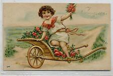Bambino con Carretto pieno di Rose A rilievo Boy w Red Roses PC Viaggiata 1911