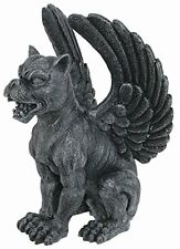 Crouching Winged Lioness Gargoyle Perching Guarding Statue Figurine Gothic