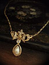 VINTAGE cristallo con perla goccia oro ciondolo collana