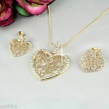 S3 Wedding Prom Crystal Filigree Heart Pendant Necklace & Earrings Set Giftboxed