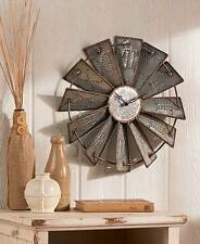 UNIQUE RUSTIC COUNTRY METAL WINDMILL WALL CLOCK CLOCKS NEW