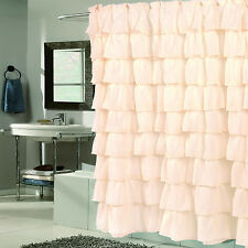 """Elegant Ivory Crushed Voile Ruffled Tier Shower Curtain 70"""" x 72"""""""