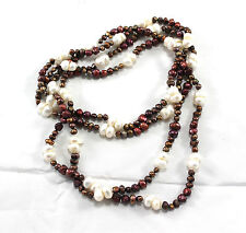 "Brown Cultured White Freshwater Pearl Beaded Necklace 64"" Long"