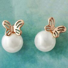 White Pearl rose gold plated Womens cute Butterfly small Punk Stud Earrings lot