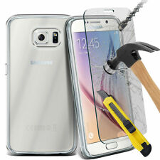 Ultra Thin Clear TPU Gel Skin Case Cover & Twin Pack Glass for Samsung Galaxy S6
