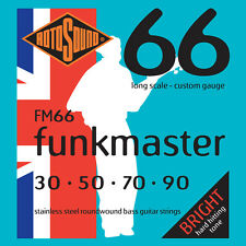 ROTOSOUND FM66 FUNKMASTER STAINLESS STEEL BASS STRINGS, CUSTOM GAUGE 4's, 30-90