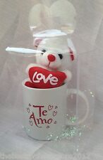 "Valentine's Day Mug""TE AMO"" With 5""Teddy Bear ""LOVE"" Clear Box