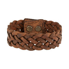 "Brown Braided Wide PU Leather Double Snap 7"" Bracelet Wristband Unique Cuff"