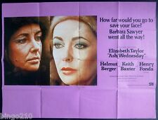 ASH WEDNESDAY ORIGINAL 1973 CINEMA QUAD POSTER ELIZABETH TAYLOR HENRY FONDA