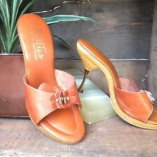Vintage 70s Deadstock Heels | Wood And Leather Heels | Daisy Heels | Size 6.5