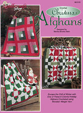 Christmas Afghans ~ 6 Colorful Quilt-Look Afghans crochet patterns OOP rare
