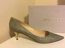 NIB $625+ Jimmy Choo AZA Light Bronze Glitter Pointed Toe Pump Shoe Metallic 40