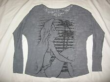 DISNEY WOMEN'S GRAY AIREL LITTLE MERMAID GRAPHIC LONG SLEEVE BLOUSE SHIRT SIZE M
