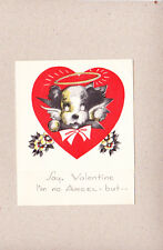 Vintage Valentine I'm No Angel Dog With Halo I'd Be In Heaven