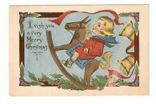 DB Postcard,Merry Christams,Child on Hobby Horse,B S