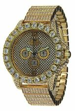 Iced Out Bling Hip Hop Techno King Gold Tone BIG CZ CRYSTALS  LUXURY WATCH