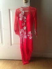 Coral colored Latin/Rhythm ballroom dress girls sizes 12-16 or womens 00-1