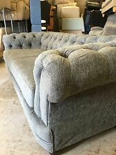 Fabric Chesterfield  3 Seater And 2 Seater Chenille Grey Fabric Sofa Set