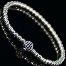 Mens Woman's Sterling Silver Plated Diamond Ball Macrame Beaded Bracelets