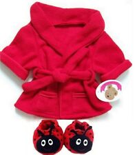 Teddy Bear Clothes fits Build a Bear Teddies Red Robe & Bug Slippers Clothing