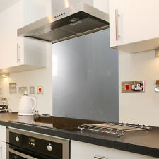 Silver Stainless Steel Effect Toughened Glass Splashback 60cm x 75cm