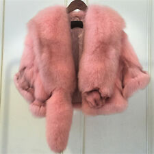 Lady Women Genuine Fox Fur Cape Wraps Wedding Shawls White Pink Poncho Waistcoat