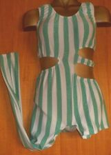 MINT GREEN SPARKLE/WHITE STRIPE LYCRA/DANCE/CATSUIT/28/32 INCH CHEST/COSTUME