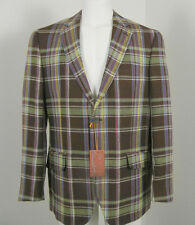 NEW! Etro Linen Sportcoat (Jacket)! 42 e 52  *ITALY*  *Brown Plaid*