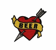 Tattoo Art Beer Heart Arrow Embroidered Iron On Patch FD
