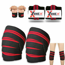"Knee-Wrist Wraps Weight Lifting Bandages Straps Guard Pads Powerlifting 78"" Set"