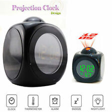 Multi-function Digital Alarm Clock LCD Projection Temperature With Voice (BLACK)