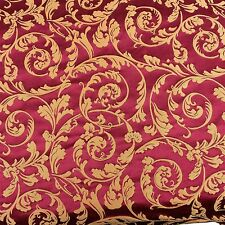 Fancy Scroll Fabric Upholstery Decor Red Gold Drapery Vtg Designer By The Yard
