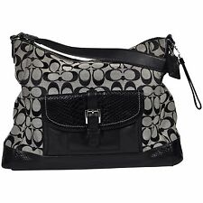 Coach Signature C Canvas Satchel Purse Faux Snakeskin Shoulder Bag Logo Print