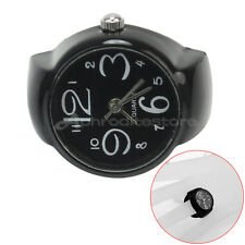 Vogue Women's Men's Metal Round Elastic Quartz Dial Finger Ring Watch Black