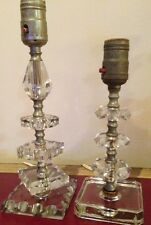 Pair of Vintage Solid Crystal Table Lamps Solid  Brass Hardware