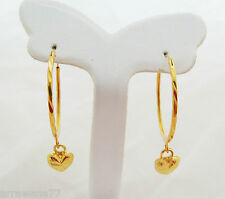 22K 23K 24K THAI BAHT YELLOW GOLD PLATED HOOPS EARRINGS JEWELRY E114